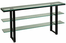 Cortesi Home Rozo Contemporary Three Tier Glass Console Table with Black Metal F