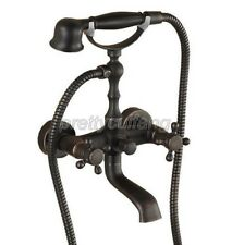 Oil Rubbed Bronze Clawfoot Bath Tub Faucet Tap W/ Handheld Spray Shower Prs018