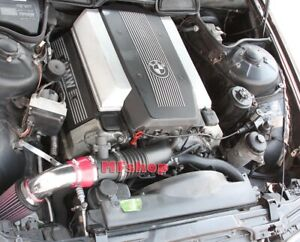 RED For 1993-2001 BMW 740 740i 740iL M60 M62 E38 Air Intake Kit + Filter