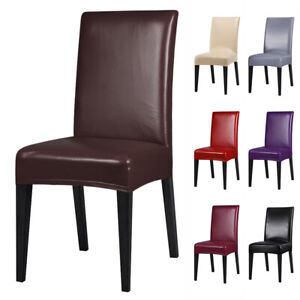 1/4/6/8 PCS Premium PU Leather Chair Covers Stretch Dining Room Seat Slipcovers