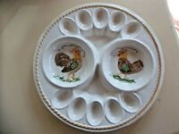 Antique Large Made in CA USA Ceramic Chicken Decor Deviled Eggs Plate Platter