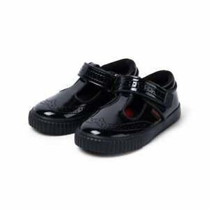 Kickers Infants Tovni Brogue Patent T Bar Shoes (Black)