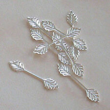 100 medium (29mm) silver plated leaf bails, findings for jewellery making crafts