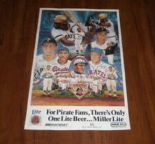 1987 PIRATES 100 YEARS MILLER LITE BEER POSTER - CLEMENTE - TRAYNOR - KINER