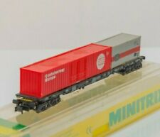 MiniTrix, 13635, N Gauge, Bogie  wagon with 2 container load (German outline)