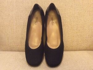 Vaneli black suede and patent ballet with small wedge, size 8M, brand new