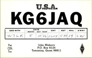 Vtg Ham Radio CB Amateur QSL QSO Card Postcard KG6JAQ GUAM MARIANAS 1976