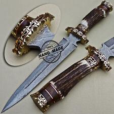 Hermosos personalizado hecho a mano cuchillo machete Daga De Caza De Acero Damasco STAG HANDLE