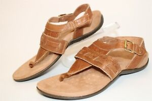 Vionic Lupe FG Womens 8 39 W Wide Brown Leather Thongs Slingbacks Sandals Shoes