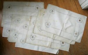 Crocheted/Linen/Doily Placemats 1930s/40s SET OF EIGHT - Vintage, Original