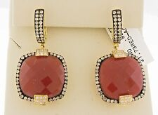 14K Yellow Gold Women Natural Red Agate Cushion Champagne Diamonds Drop Earrings