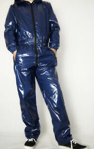 Glanznylon PVC shiny Overall Suit EX Regenoverall dunkelblau lack L ohne Futter