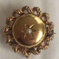 Victorian Pearl 18ct Gold Antique Brooch