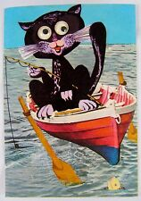 Vintage 60's moving-eyes postcard ~ cat rowing a boat, Israel, RARE collectible
