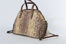 BRAHMIN Brown Snake Print Leather Shoulder Strap Tote Shoulder Bag