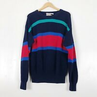 Vintage Striped Chunky Knit Sweater Sz L