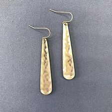 Simple Matte Gold Finished Hammered Oval Bar Shape Drop Dangle Hook Earrings