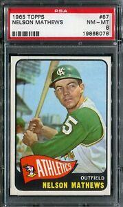 1965 Topps #87 Nelson Mathews PSA 8 NM-MT