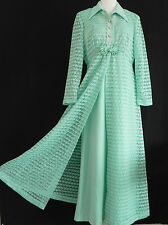 Vtg  Dress Suit Size L Full Length Sleeveless Dress  Opera Lace Coat  Green