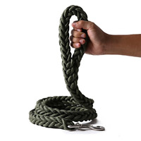 Dog leashes Braid Thick Dog Lead Rope Heavy Duty Strong Durable Green Leash New