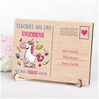 Personalised Unicorn Gifts for Teacher Assistant Nursery Her Wooden Plaque Gifts