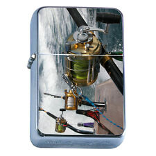 Windproof Refillable Flip Top Oil Lighter Fishing D8 Fisherman Trout Lake Water