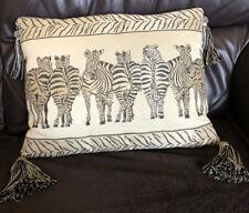 Lovely Jonelle ,Embroidered , Tasselled , ZEBRA Cushion , Feather Insert