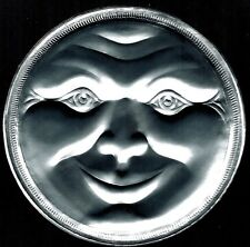 LARGE SILVER FULL MOON FACE MAN PAPER DIORAMA ORNATE CELESTIAL DRESDEN GERMANY