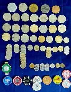 Casino Chips & Token Lot Of 63 Las Vegas Reno Sahara Harrah's Sands Fremont More