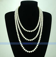 Long White Genuine Cultured Freshwater Pearl Necklace | FJUS