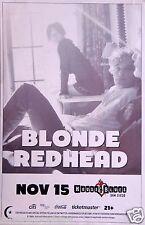 BLONDE REDHEAD 2014 SAN DIEGO CONCERT TOUR POSTER - Alternative Rock Music