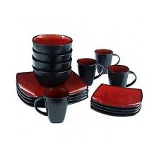 Red Dinnerware Set Stoneware 32 Piece Plates Bowls Mugs Square Dishes Kitchen