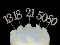 45mm Silver Diamante Rhinestone Cake Pick Topper Birthdays Diamante Numbers
