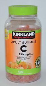 180 KIRKLAND SIGNATURE ADULT GUMMIES C 250MG CHEW FRUIT CANDY TANGERINE IMMUNE