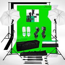 1250W Black White Green Backdrop Background Stand Umbrella Clamp Lighting Kit UK
