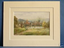 LONDONDERRY FROM THE WATERSIDE ULSTER IRELAND VINTAGE DOUBLE MOUNTED PRINT 10X8