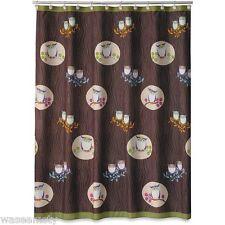 Owl Whimsical Hoot Chocolate Brown Tree Branch Fabric Shower Curtain Bath Decor