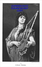 XXL Holzstich 1904, Odaliske Musikinstrument music Nathaniel Sichel engraving