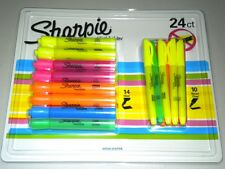 24 QUALITY SHARPIE FINE & CHISEL POINT HIGHLIGHTER PENS DIFFERENT COLOURS