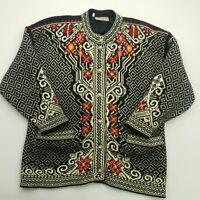 Norlaender Womens Vintage NORDIC Norwegian Lining Cardigan LARGE Wool Jumper