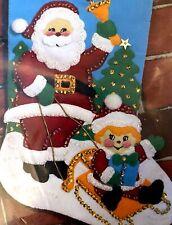 "Sled Ride with Santa 18"" Christmas Stocking Craft Kit Applique Felt  9224"