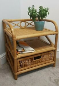 Vintage Cane Shelf Unit with Drawer Rattan Boho MCM Tiki Retro Plant Stand Shelf