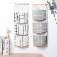 Wall Door Closet Bathroom Hanging Storage Bag Organizer Pouch With 3 Pockets G