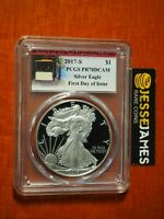 2017 S PROOF SILVER EAGLE PCGS PR70 DCAM FIRST DAY OF ISSUE TROLLEY CAR LABEL