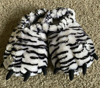 NEW White Tiger Soft Plush Fun Winter Animal Claw Paw Feet Indoor Slippers L/XL