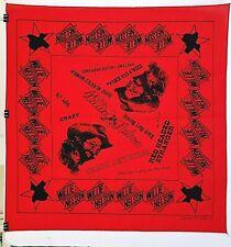"""Vtg Willie Nelson Red Bandana 1977 Tour SongTtitles Frank Bros 21"""" x 21"""" Evc"""