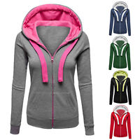 Women Plain Zip Drawstring Hoodie Sweatshirt Hooded Coat Jacket Outwear Gym Top