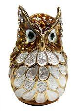 Hand Painted Owl Jewelry box Enameled Jewel Mini Owl Trinket Box, Brown color