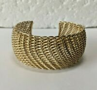 Vtg J&T Heavy solid sterling silver mesh cuff bangle bracelet 925 woven 52g
