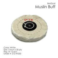 "White Muslin Buff Wheel 3"" x 30 Ply 12-Piece"